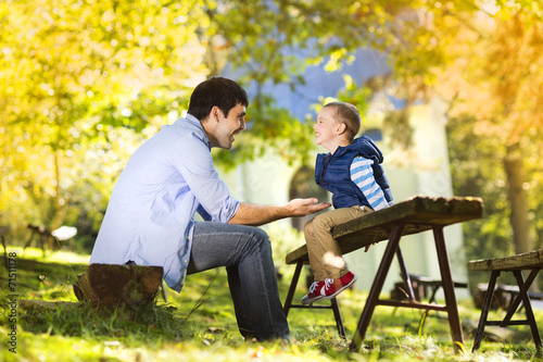canvas print picture Father and son