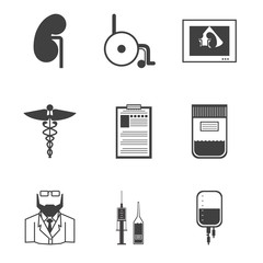 Black vector icons for nephrology