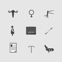 Vector icons for gynecology