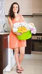 Girl using washing machine at home