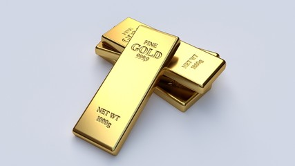 Gold bars on white backgrounds