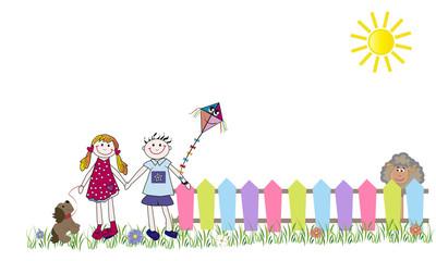 Niños felices con cometa, valla y oveja.