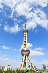 Shanghai Oriental pearl TV tower under the blue sky.