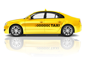Side View Studio Shot Of Yellow Sedan Taxi Car