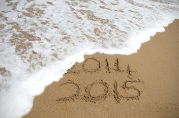 The year 2014 being washed away.