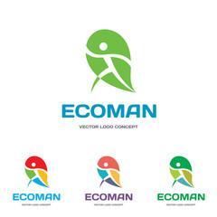 EcoMan - vector logo. Ecological concept sign. Human character.