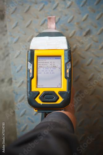handheld XRF analyzer spectrometer for scrap metal in action