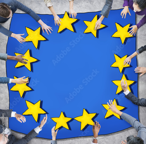 canvas print picture Business People and European Union Flag