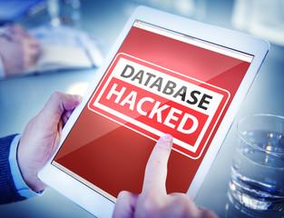 Hands Holding Digital Tablet Database Hacked