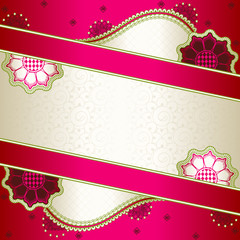 Vibrant pink banner inspired by Indian mehndi designs