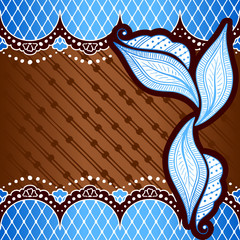 Brown & blue banner inspired by Indian mehndi designs