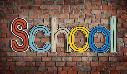 The Word School on a Brick Wall Background