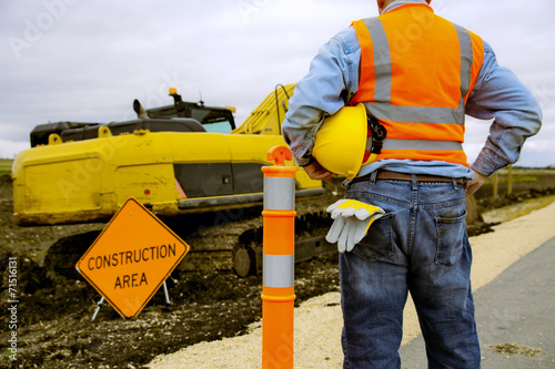 Road construction worker poster