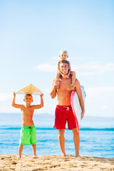 Father and Sons Going Surfing