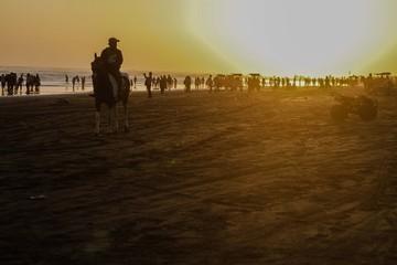 sunset, beach, sand, people