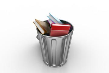 Books in trash bin