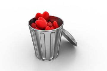 heart in recycle bin