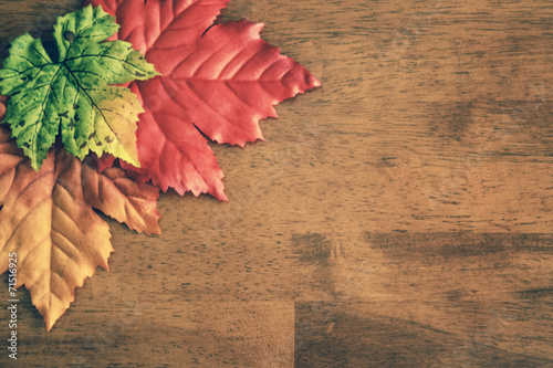 Staande foto Bomen Aerial Autumn Leaves Table