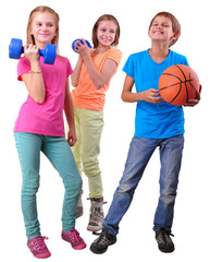 Group of sporty friends with dumbbels and ball