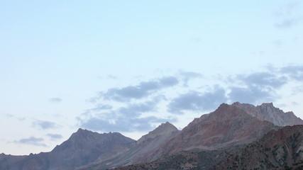 Sunset in the mountains. Panorama. Time Lapse. Tajikistan