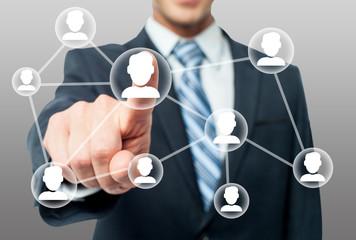 Man hand and modern network friends