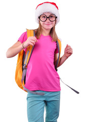 child with Santa Claus red hat, backpack and glasses