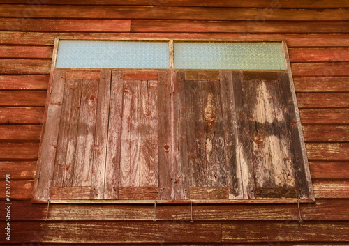 canvas print picture old wooden windows