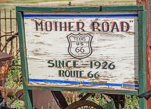 Plexiglas Texas Mother Road Sign