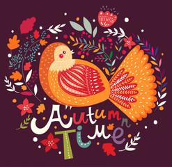 Autumn background with bird