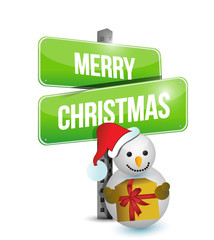 Merry Christmas snowman sign illustration design