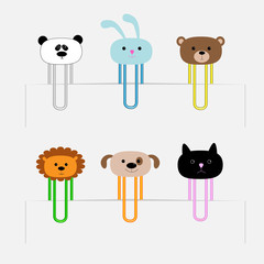 Paperclips set animal heads. Panda dog cat lion bear Flat