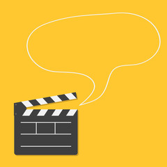 Open movie clapper board with speech bubble Template icon. Flat
