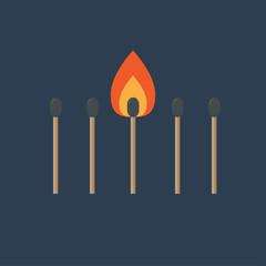 Match set with one burning orange fire light. Flat