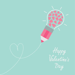 Pencil  light bulb hearts Dash heart. Flat design Valentines day