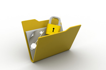 Confidential files. Padlock on folder