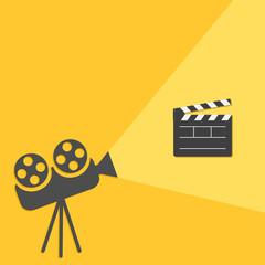 Cinema projector  light Open movie clapper board template icon