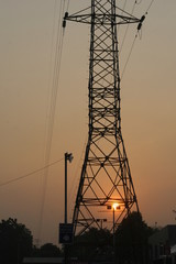 Electrical Tower and cables in the morning
