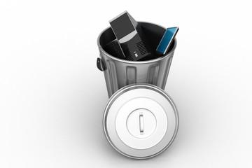 computer in trash bin