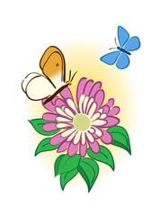 flower with butterflies - vector