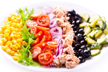 plate of tuna salad with vegetables