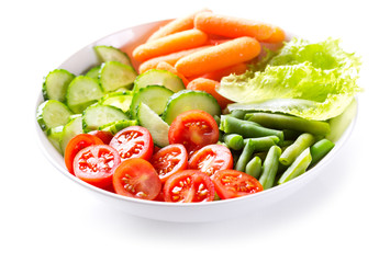 plate of salad with fresh vegetables