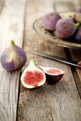 Close-up of a fig on a wooden background