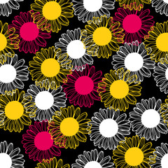 Pink, yellow and white chrysanthemums flowers pattern seamless