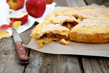 Traditional homemade American apple pie