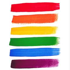 Vector rainbow watercolor brush strokes