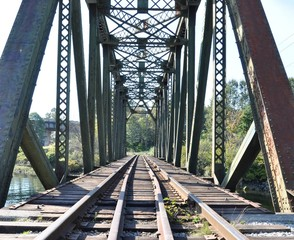 Close up railway bridge