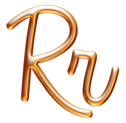 3d golden letter R isolated white background