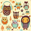 Cute owls. Vector illustrations. - 71519963
