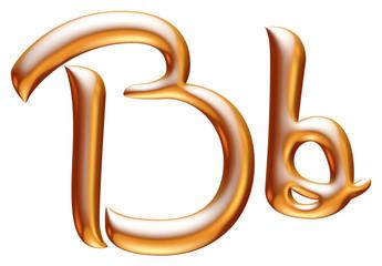 3d golden letter B isolated white background