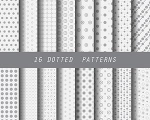 16 polka dot seamless pattern set
